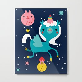 Space Unicorn Metal Print