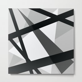 Abstract Grayscale Geometric Lines Metal Print