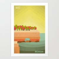 michigan Art Prints featuring Michigan by AtomicChild