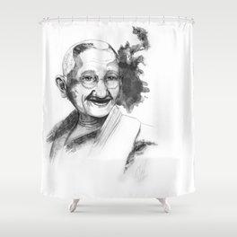 Will & Strength (Ghandi) by carographic Shower Curtain