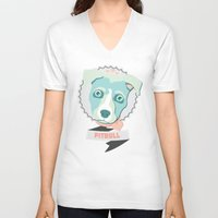pastel goth V-neck T-shirts featuring Pastel Pitbull by Minette Wasserman