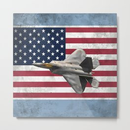 F22 Stealth Fighter Jet American Flag Metal Print