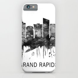 Grand Rapids Michigan Skyline BW iPhone Case