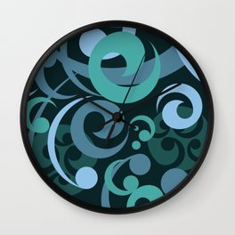 Koru Waves on a Black Background Wall Clock