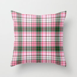 in pink plaid Throw Pillow