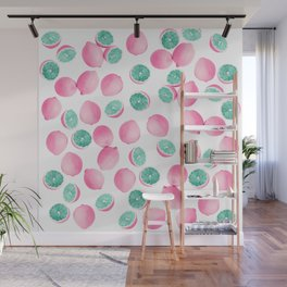 Citrus Lemons in Pink and Teal Wall Mural