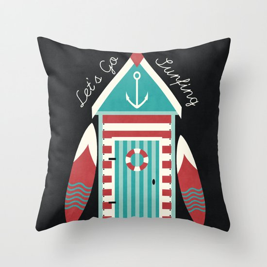 Let's Go Surfing. Throw Pillow