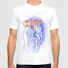 Jellyfish watercolor Mens Fitted Tee White MEDIUM