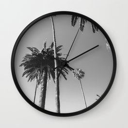 Palm Trees (Black and White) Wall Clock