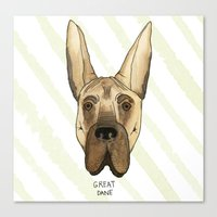 great dane Canvas Prints featuring Great Dane by Melissa DiPeri