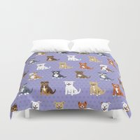 pit bull Duvet Covers featuring American PIT BULL TERRIERS by DoggieDrawings