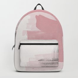 Blush Pink Black Grey, Watercolor Brush Strokes, Abstract Art 111-1 Boho decorative art Backpack