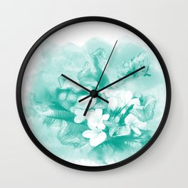 Butterflies and tropical flowers in stunning teal Wall Clock