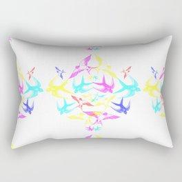 Swooping Swallows in CMYK Rectangular Pillow