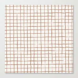 Imperfect Grid in Ivory and Clay Canvas Print
