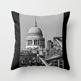 Millenium Bridge & St Pauls Catherderal. London. Throw Pillow