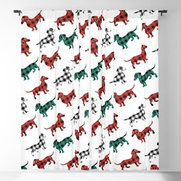 Christmas Dachshunds Red Flannel Blackout Curtain