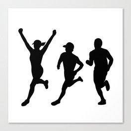Marathon Runners Silhouette Collection Set Canvas Print