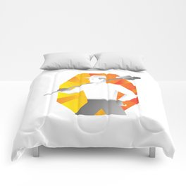 cleaner with broom looking to side retro Comforters