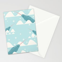 narwhal in ocean Stationery Cards