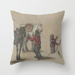 Man holding two horses and a man with birds, Adriaen Pietersz. van de Venne (possibly), 1600 - 1662 Throw Pillow