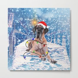 Great Dane Holidays Christmas Snow Metal Print