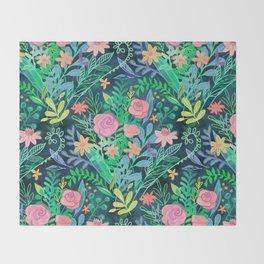 Roses + Green Messy Floral Posie Throw Blanket