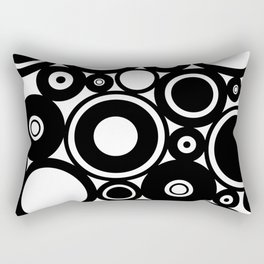 Retro Black White Circles Pop Art Rectangular Pillow