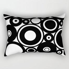 Retro Black White Circles Pop Art Rectangular Pillow