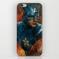 avenger iPhone & iPod Skins featuring The First Avenger by SachsIllustration