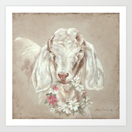 Goat with Floral Wreath by Debi Coules Art Print