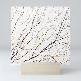 Snowy birch twigs and leaves #society6 #decor #buyart Mini Art Print