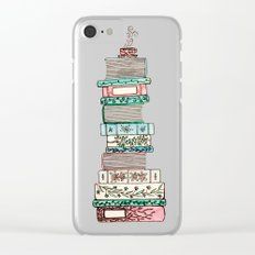 Pink and Blue Books Clear iPhone Case