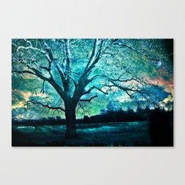 Surreal Gothic Haunting Trees Nature Aqua Blue Infrared Nature Landscape Canvas Print