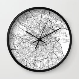 Dublin Map White Wall Clock