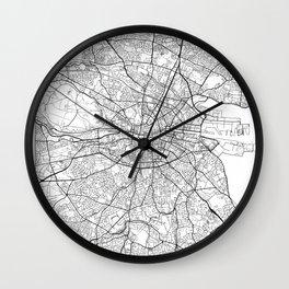 Dublin Map White Wall Clock