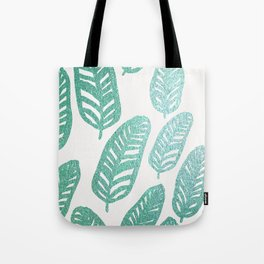 Bright green and blue leaves Tote Bag