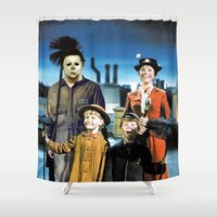 mary poppins Shower Curtains featuring Michael Myers in Mary Poppins by Luigi Tarini