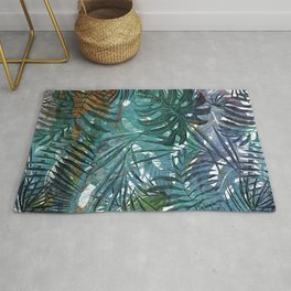 Aloha - Tropical Palm Leaves and Monstera Leaf Garden Rug