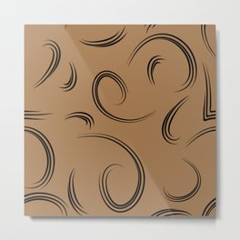 Patterns from curls to represent natural products bronze background. Metal Print