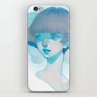 loish iPhone & iPod Skins featuring visage - blue by loish