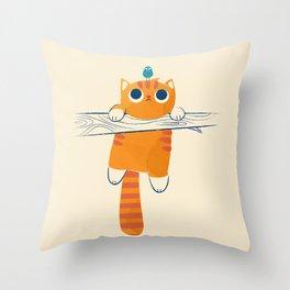 Fat cat, little bird Throw Pillow