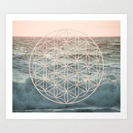Mandala Flower of Life Sea Art Print