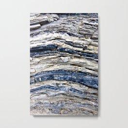Gray Beige Blue Jagged Rock Stripes Metal Print