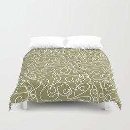 Doodle Line Art | White Lines on Khaki/Olive Green Duvet Cover