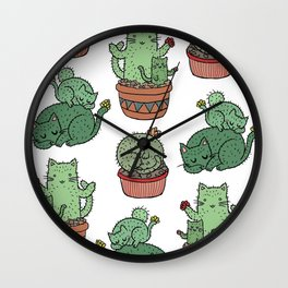 Cactus Cats Wall Clock