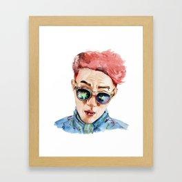 Man in glasses watercolor Framed Art Print