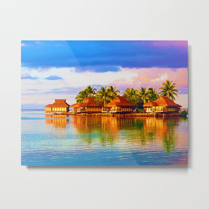 Sunset over Moorea Metal Print