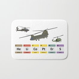 Military Helicopters Chemistry Bath Mat