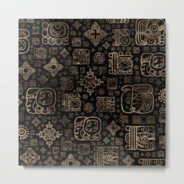 Mayan glyphs and ornaments pattern -gold on black Metal Print